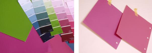 色を決めるのにはカラーチップが便利